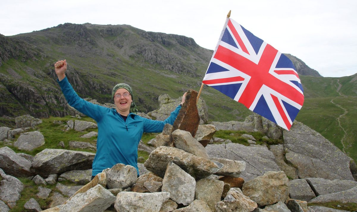 Susan on the summit of her last Wainwright
