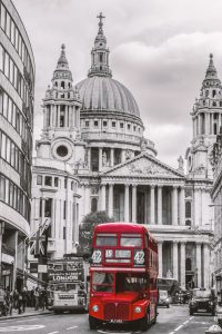 London bus in front of St Pauls Cathedral