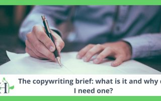 Person writing a copywriting brief